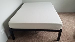 Metal bed frame with mattress for Sale in Somersworth, NH