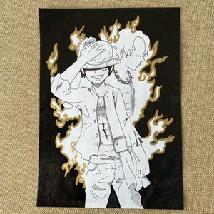 Luffy And Ace Sketch With Gold Paint (on Piece) for Sale in San Bernardino, CA
