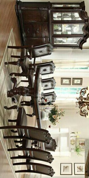 Brand New Brown Extendable Rectangular Double Pedestal 9-Piece Dining Set. / Table & 8 Side Chairs. / for Sale in Austin, TX