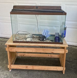 35 Gallon Fish Tank with filter, lid and wood stand for Sale in Durham, NC