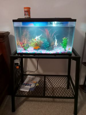fish tank. with heater and decoration, table for fish tank for Sale in Orlando, FL