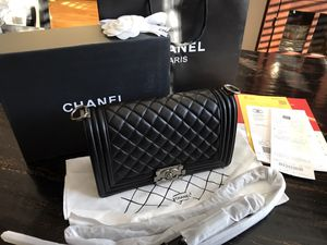 Chanel Quilted Lambskin Le Boy Medium Black Flap Bag for Sale in Kennesaw, GA