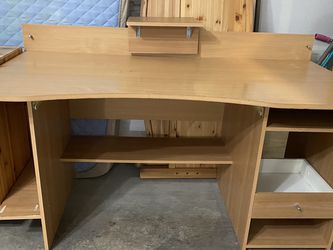 Wood desk with attachable and movable monitor stand for Sale in Sammamish,  WA