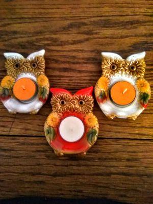 Super cute Vintage ceramic owl votive candle holders for Sale in La Puente, CA