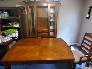Nice table with center ext 6 chairs and china cupboard for Sale in Pittsburgh, PA