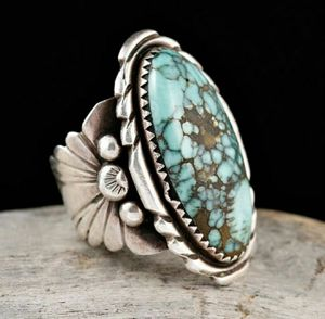 Antique Silver Turquoise Gemstone Floral Ring for Sale in Wichita, KS