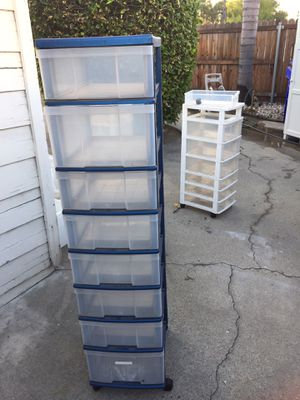 Tall plastic drawers on rollers for Sale in Rialto, CA