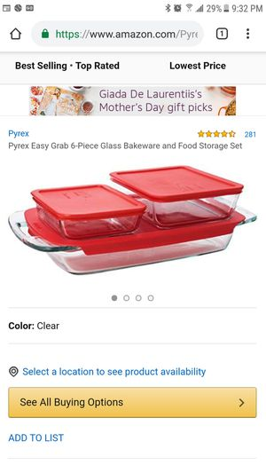 Pyrex Bake N Store 6-Piece Glass Bakeware and Storage Set with Red Lids for Sale in Hallandale Beach, FL