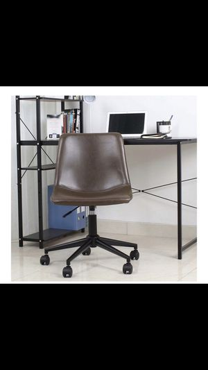Mid Back Fuax Leather Task Chair, Brown Office Chair leather desk chair NEW IN BOX brown vanity chair desk chair secretary chair for Sale in Orange, CA