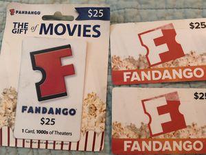 Three Fandango $25 cards for Sale in San Antonio, TX