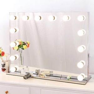 "New in box $250 Vanity Mirror w/ 14 Dimmable LED Light Bulbs, Hollywood Beauty Makeup Power Outlet 32x26"" for Sale in Pico Rivera, CA"