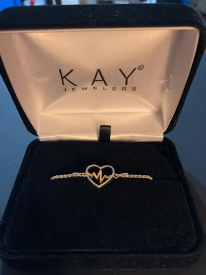 Kay Jewelers Diamond Heartbeat Bolo Bracelet Sterling Silver/10k Gold for Sale in Denver, CO