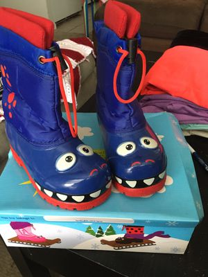 Dinosaur snow boots kids 12 for Sale in Columbus, IN