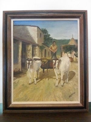 Working Goats Pulling a Hay Wagon with Farmer Oil Painting on Canvas in Frame for Sale for Sale in San Jose, CA