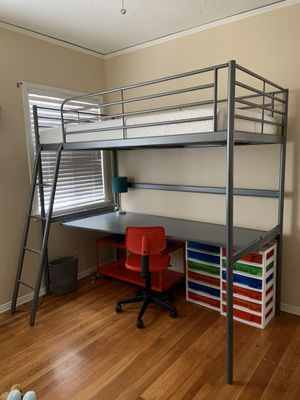 Loft bed and desk - metal (IKEA) for Sale in Culver City, CA