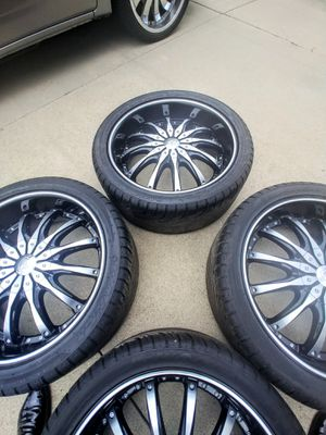 4 Black and Crome Rims with tires AS a bonus deal for Sale in Detroit, MI