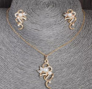 18kt Gold Plated Simulated Pearl and Diamond Necklace and Earring Set for Sale in Silver Spring, MD