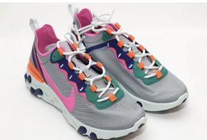 Nike Women's React Element 55 Wolf Grey Laser Fuchia Shoes Women's Size 11 for Sale in Glendale, AZ