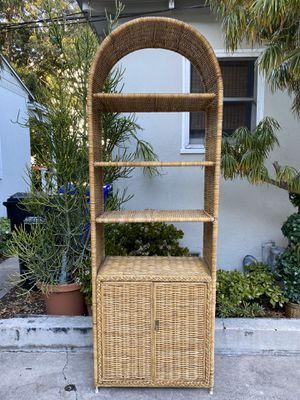 Boho Vintage Rattan Bamboo Wicker Shelf Etagere Shelving Unit Display Cabinet Shelves for Sale in San Diego, CA