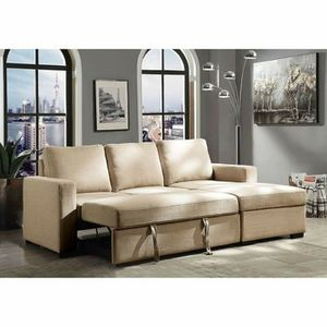 BEIGE SLEEPER SOFA BED CHAISE SECTIONAL for Sale in Menifee, CA