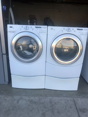 Whirlpool washer and dryer gas heavy duty super capacity plus good condition deliver and installation available for Sale in Bloomington, CA