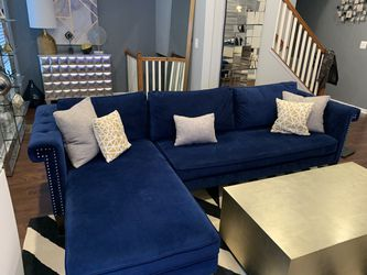 Navy blue sofa with right facing chase for Sale in Washington,  DC