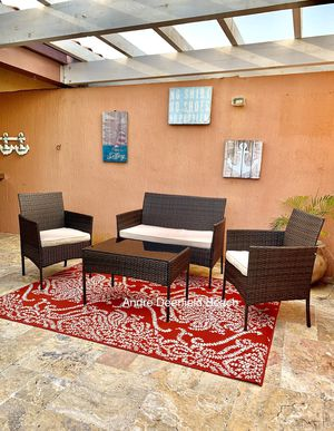 Brown wicker patio set - 4 piece outdoor furniture set with cushions for Sale in Deerfield Beach, FL