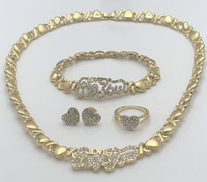 🔥🔥🔥X❤️X❤️ hugs and kisses I love you set necklace, bracelet,rind and earrings best quality guarantee‼️ 14k gold bonded/filled‼️Girls sizes available for Sale in Johnson City, TN