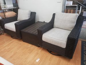 New 3pc outdoor patio furniture set oversize swivel rockers tax included for Sale in Hayward, CA