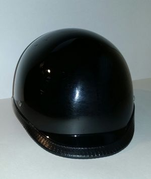 DOT Half motorcycle bike helmet black with good thick strap Medium sized easy connection for Sale in Norwalk, OH