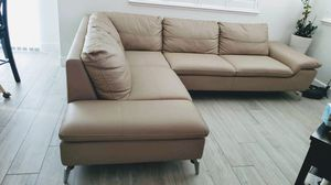 2-piece Sectional Beige Faux Leather Couch with Chaise for Sale in San Jose, CA