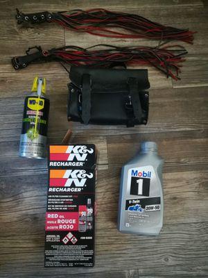 Harley mobile 1 v twin oil, k&n air cleaner kit, wd 40 specialist cleaner, fork bag for Sale in Tempe, AZ