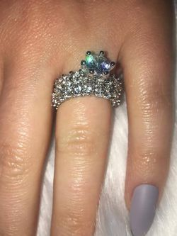 2 PIECE STERLING SILVER WITH CZ'S ENGAGEMENT/WEDDING RING SIZE 6 for Sale in Los Angeles,  CA
