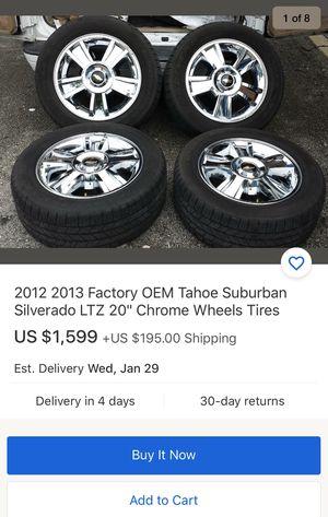 "20"" Chevy Silverado OEM stock wheels n tires $900 *no low ballers* Tahoe suburban gmc for Sale in Norwalk, CA"
