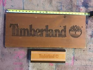 Timberland Boot Display Sign Marketing Desk Wood Shelf Sample Construction Chukka for Sale in Chesapeake, VA