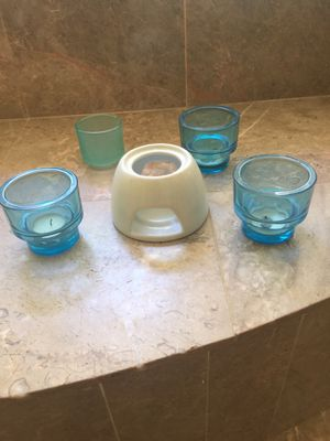 Blue candle holder set for Sale in Mint Hill, NC