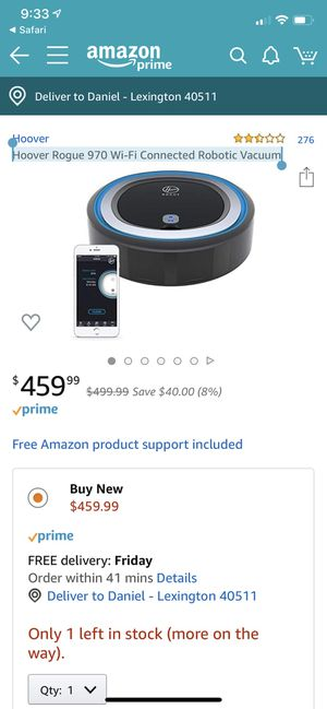 Hoover Rogue 970 Wi-Fi Connected Robotic Vacuum for Sale in Lexington, KY
