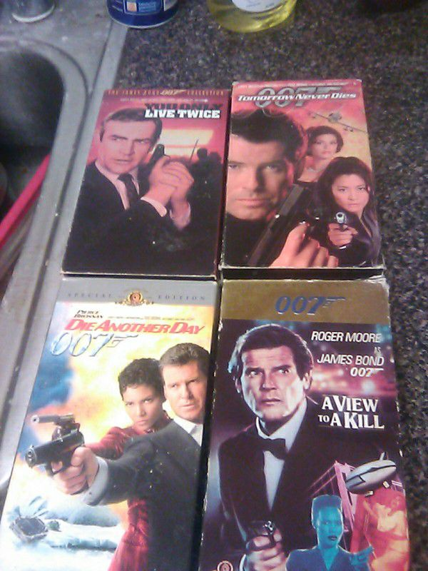4--assorteds j.bond vhs tapes