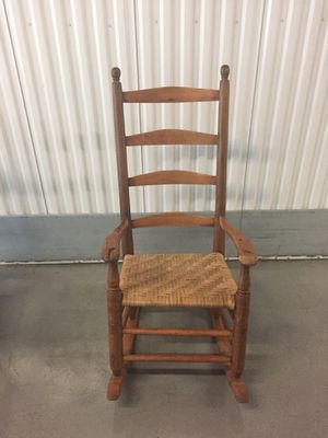 Antique Solid Wood Frame Rocking Chair with Cain Seat for Sale in Atlanta, GA