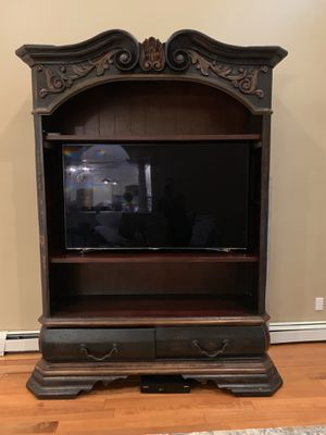 Raquel Collection TV or book stand with two drawers and shelves. Distresses espresso for Sale in Parsippany, NJ