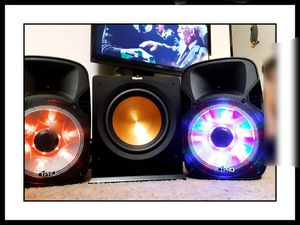 2 PORTABLE T-PRO STADIUM SPEAKERS WITH STANDS 1 KLIPSCH R-112SW SUBWOOFER for Sale in Scappoose, OR