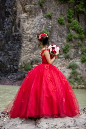 Red Quinceañera prom sweet 16 dress Beautiful gorgeous pretty for Sale in Alexandria, VA