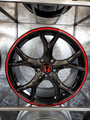 18x8 5x114 et38 gloss black Honda civic type r style wheels with red strip rims for Sale in Tempe, AZ