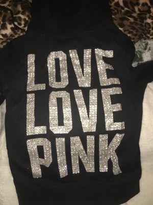 Victoria Secret Pink XS Black hoodie zip up for Sale in Clarksburg, MD