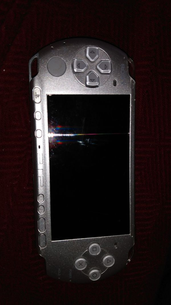 Silver grey PSP console