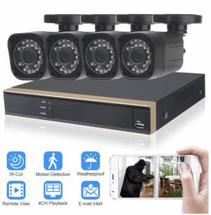ELEOPTION Security System 4CH 1080P DVR 4X 720P Camera ,4 cables,power supply,complete ready to install.Remote view on Smartphone App for Sale in Los Angeles, CA