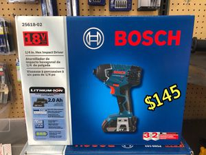 BRAND NEW Bosch 18-Volt 1/4-in Cordless Impact Driver (2 Batteries Included and Charger Included. RETAILS $179.00 + TAX = $197.79 ASKING ONLY $145 for Sale in Los Angeles, CA