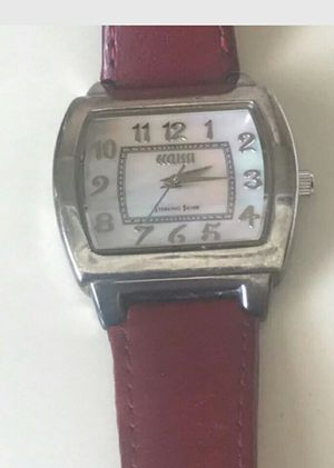 ECCLISSI Sterling silver Burgundy Leather Band Marked 925 Mother Of Pearl Face for Sale in Washington, DC