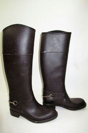 "Gucci Dark Brown 18""inch Tall Rubber Women's Boots Sz 8 for Sale in Arlington, VA"