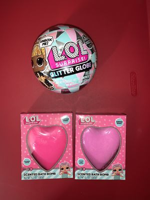 LOL Surprise Bundle. 1 LOL Surprise Glitter Globe + 2 Lol Suprise Scent Bath Bomb ( Cotton Candy and Strawberry). No pick up. Only Shipping. Fast shi for Sale in Orlando, FL